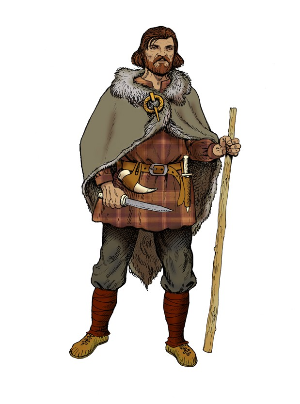 An Iron Age man, illustrated by Ugly Studios
