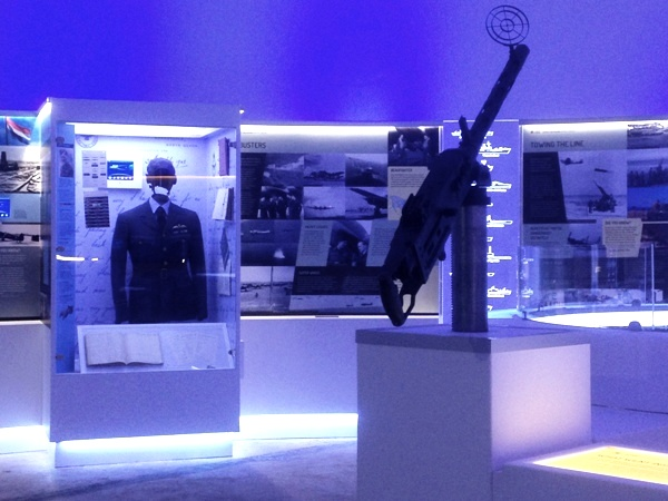 The Dome's interactive training gun and a case telling the story of local pilot, Jeff Rounce