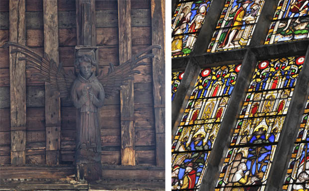 Images of one of the Chapel's famous carved angels, and its beautiful stained-glass windows, Image ©Churches Conservation Trust