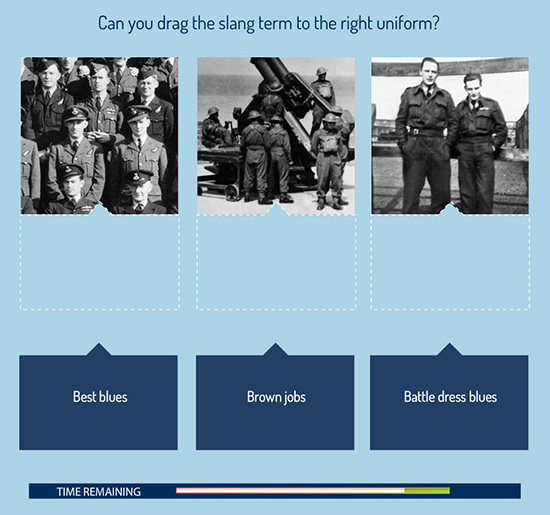 A question from the Langham Dome Slang Quiz shows the terms: Brown Jobs, Best blues and Battle Dress Blues, alongside three photographs.